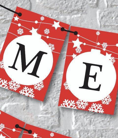 Red Merry Christmas Banner. Christmas Decoration