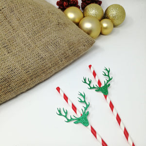 Reindeer Christmas Straw. 10 Pieces. Christmas Decoration