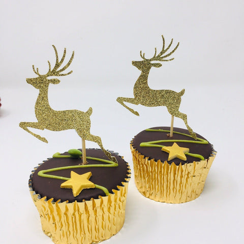 Reindeers Christmas Cupcake Topper. 12 pieces