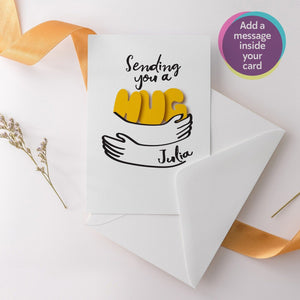 Sending you a hug card, Personalised greeting card, Happy birthday, anniversary card
