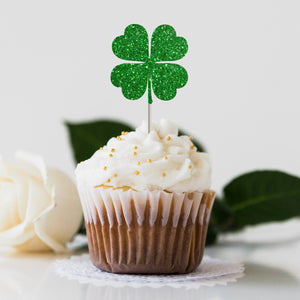 Shamrock cupcake topper. 12 pieces. Green St. Patrick's Day party concept, 1st birthday decor
