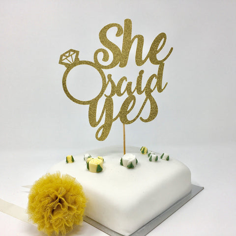 She Said Yes Cake Topper. Engagement Party Decorations