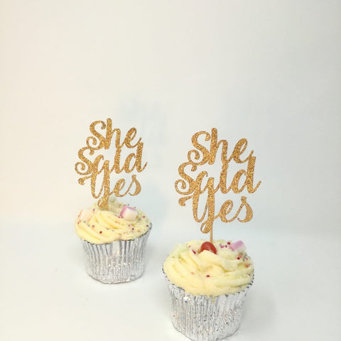 She Said Yes Cupcake Topper, 12 Pieces, Hen Party Decor