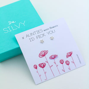 Silver flower stud earrings with box. Jewellery gift for her. Aunt Christmas gift. Xmas present for auntie