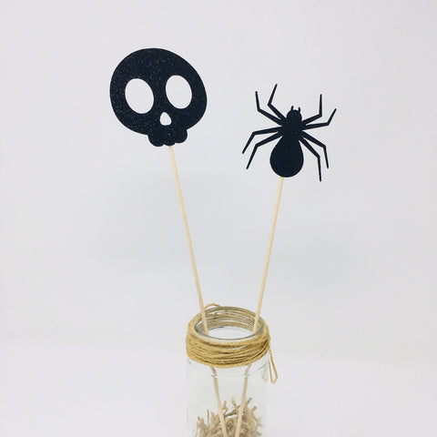Skull And Spider Centerpiece Set of 2