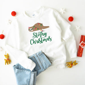 Slothy Christmas Jumper, Suitable for all family members, Matching Sloth , Xmas Sweatshirt