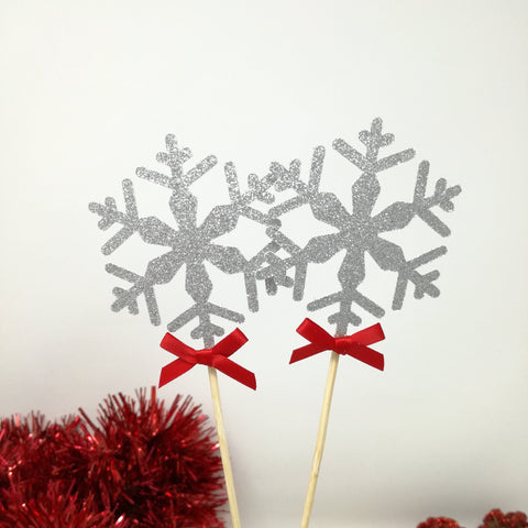 Snowflake Centerpiece With Bows. Set Of 2