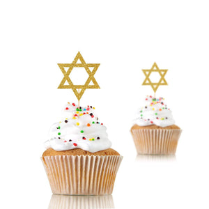 Star of David Cupcake Toppers, 12 pieces, Jewish Decor