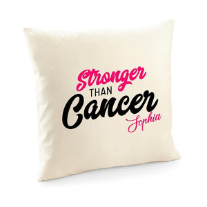 Stronger than cancer cushion cover with name, Survivor party gift