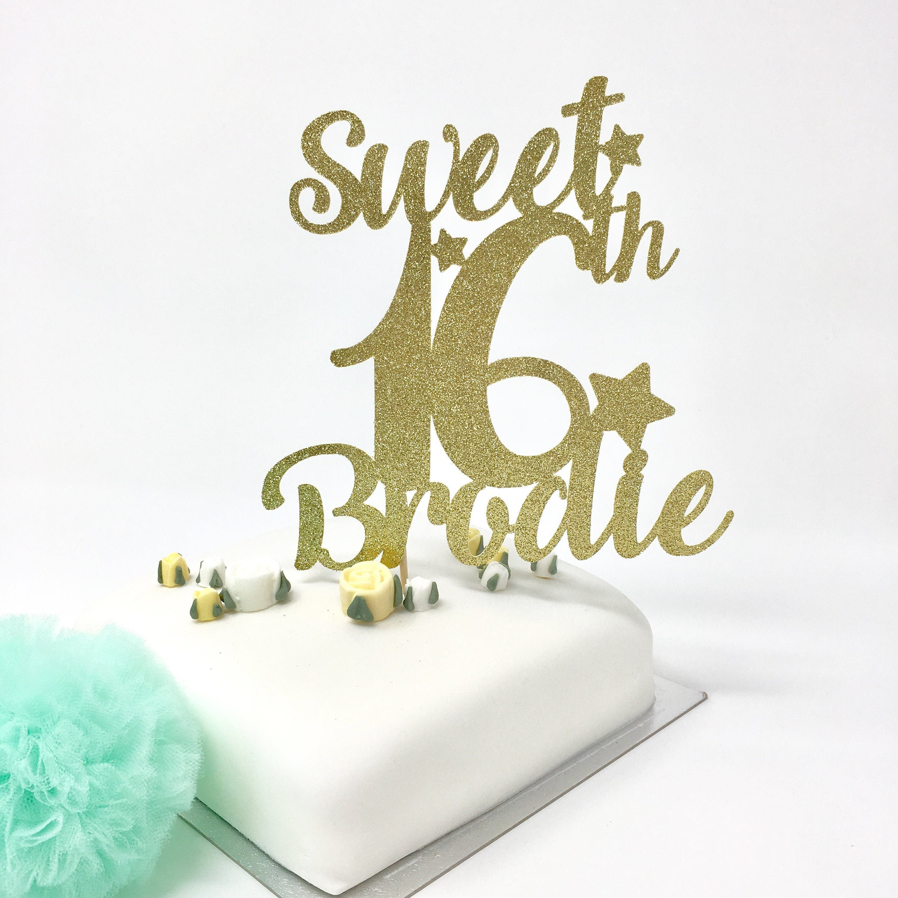 Sweet 16th Birthday Cake Topper with a Name. Personalised