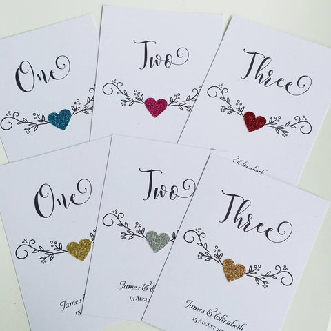 Table numbers with Heart. Personalised With the Names and the Date