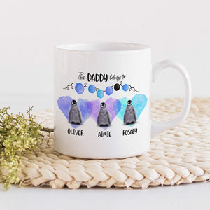 This Daddy Belongs To Mug With Children Names, Little Penguins, Personalised Gift For Dad