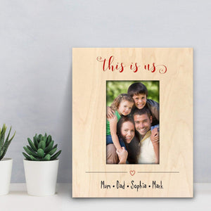 This is us personalised Large Photo Frame with family members names