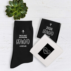 This is what an awesome grandad looks like cotton socks, birthday gift for grandpa, Christmas gift