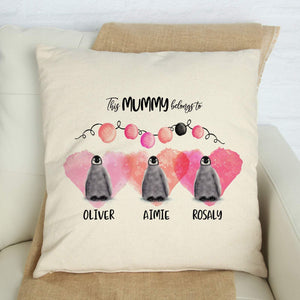 This mummy belongs to cushion cover, Personalised Mother's Day Gift with child names