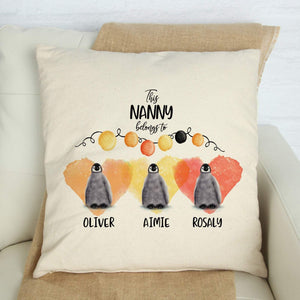 This Nanny belong to cushion cover with grandchildren names,Personalised grandma gift