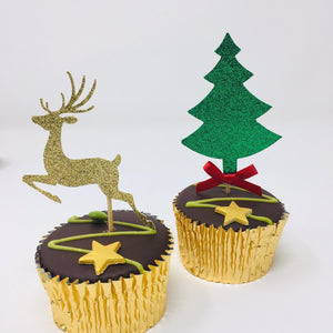 Tree and Reindeer Christmas Cupcake Topper. 12 pieces