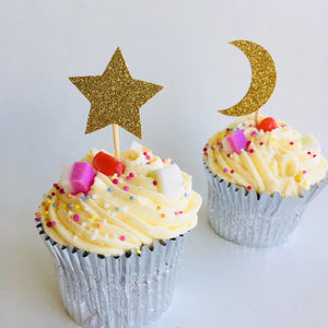 Twinkle Twinkle Little Moon and Star Cupcake Topper, 12 Pieces