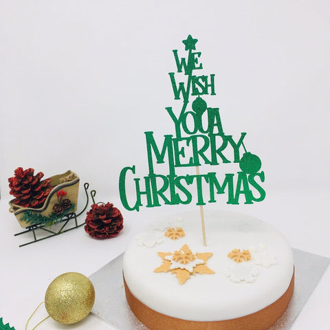 We wish you a Merry Christmas Cake Topper