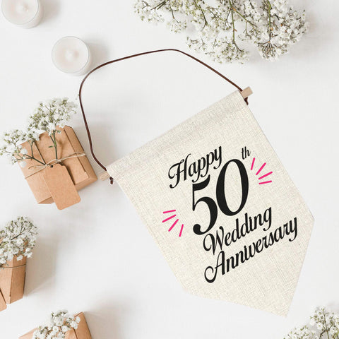 Wedding Anniversary Linen Flag, Wedding Party Decoration