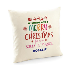 Wishing you a Merry Christmas from a social distance cushion cover