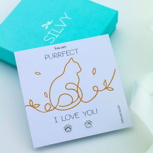 You are purrfect. I love you card with silver paw earrings. Cat lover Christmas or birthday gift