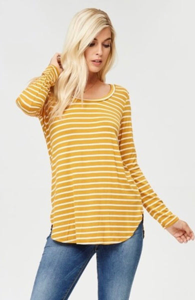 Mia Mustard Striped Top