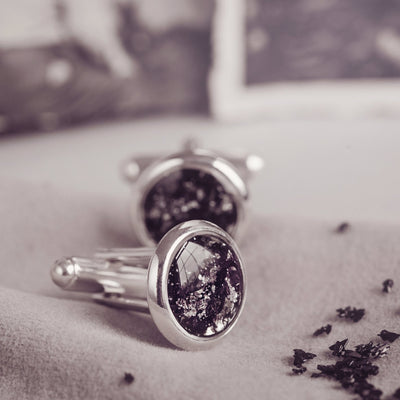 Cremation Ashes Black Cufflinks