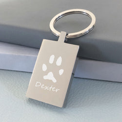 *Rectangle Special Offer Keyring - 1 Pawprint & 1 Name Keyrings Handonheartjewellery