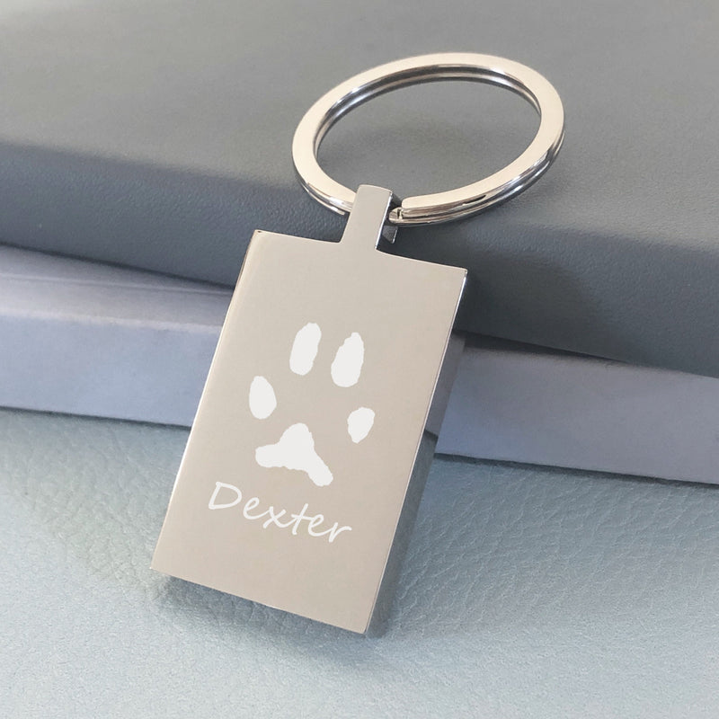 *Rectangle Special Offer Keyring - 1 Pawprint & 1 Name