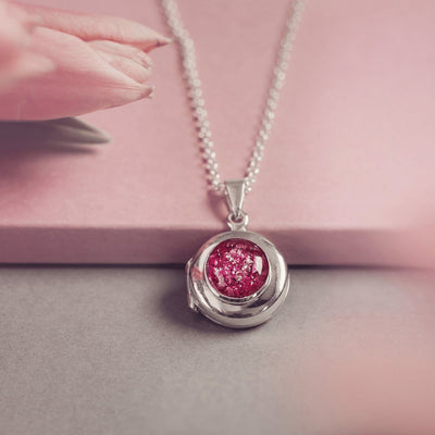 Memorial Ashes Round Locket Necklace Hand on Heart Jewellery