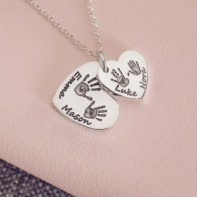 Handprint or Footprint Descending Heart Necklace, Four Prints And Four Names Necklace Handonheartjewellery
