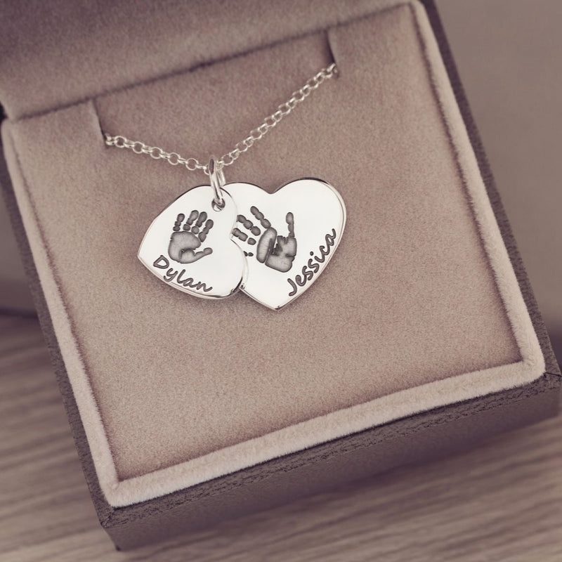 Handprint or Footprint Descending Heart Necklace, Two Prints And Two Names Necklace Handonheartjewellery