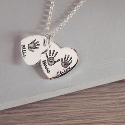Handprint or Footprint Descending Heart Necklace, Three Prints And Three Names Necklace Handonheartjewellery