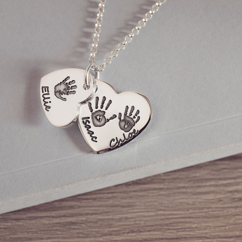 Handprint or Footprint Descending Heart Necklace, Three Prints And Three Names