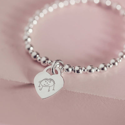 Childrens Drawing Silver Bracelet
