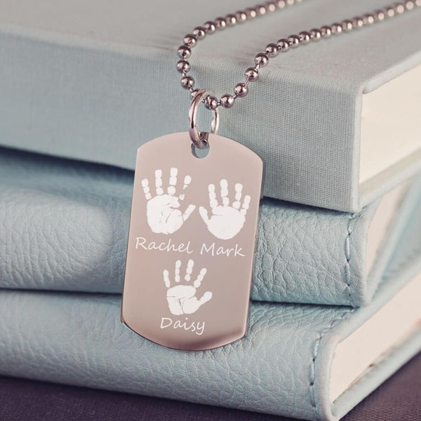 Handprint Dog Tag Necklace
