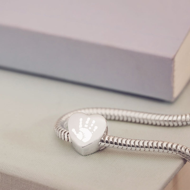 Engraved Handprint or Footprint Heart Charm Bead, One Print and Name beads Handonheartjewellery