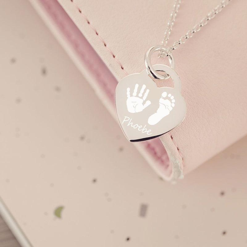 Engraved Handprint Or Footprint Heart Necklace, Two Prints And One Name