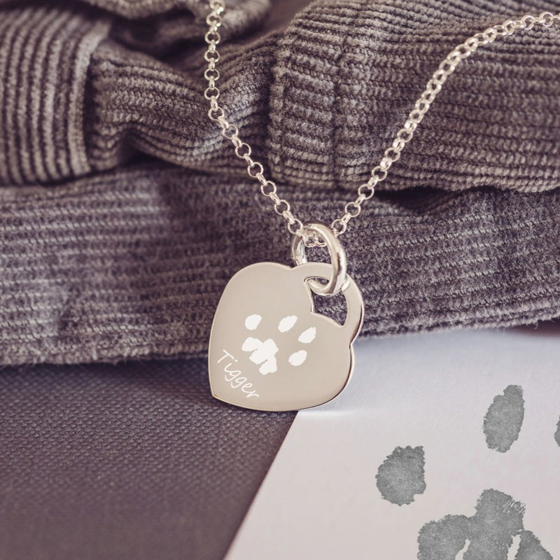 Engraved Pawprint Heart Necklace, One Print And Name Necklace Handonheartjewellery