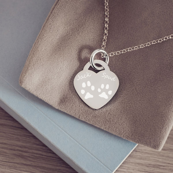 Engraved Pawprint Heart Necklace, Two Prints And Two Names Necklace Handonheartjewellery