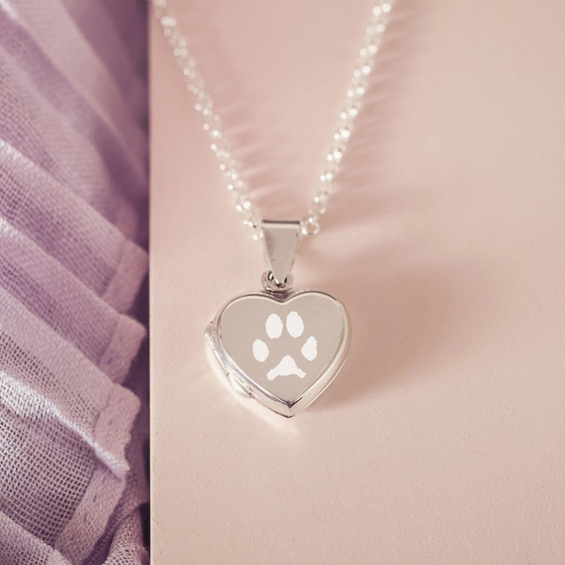 Engraved Pawprint Locket, One Print Necklace Handonheartjewellery