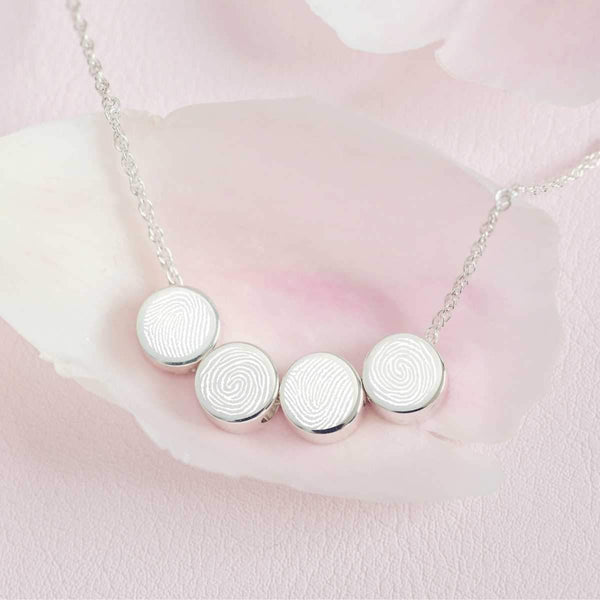 Family Necklace with Four Fingerprints