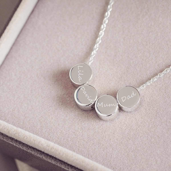 Fingerprint Family Necklace with Four Names