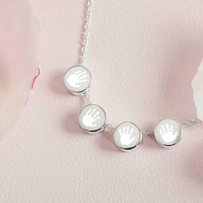 Family Necklace with four handprint charm beads