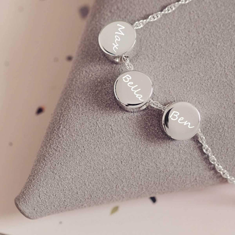 Family Necklace Pawprint charms