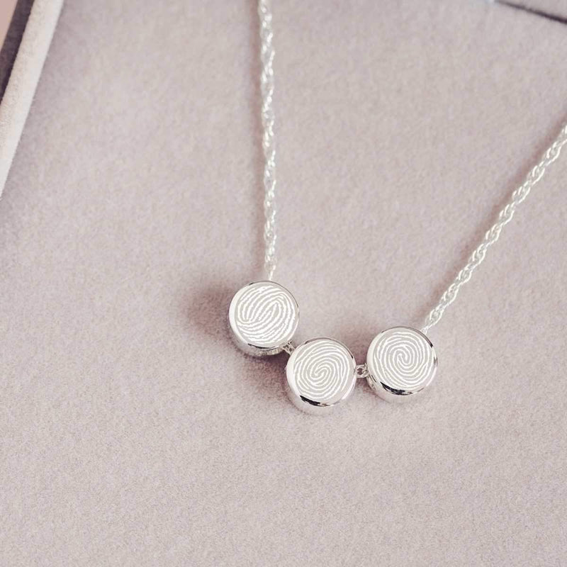 Family Necklace with Three Fingerprints