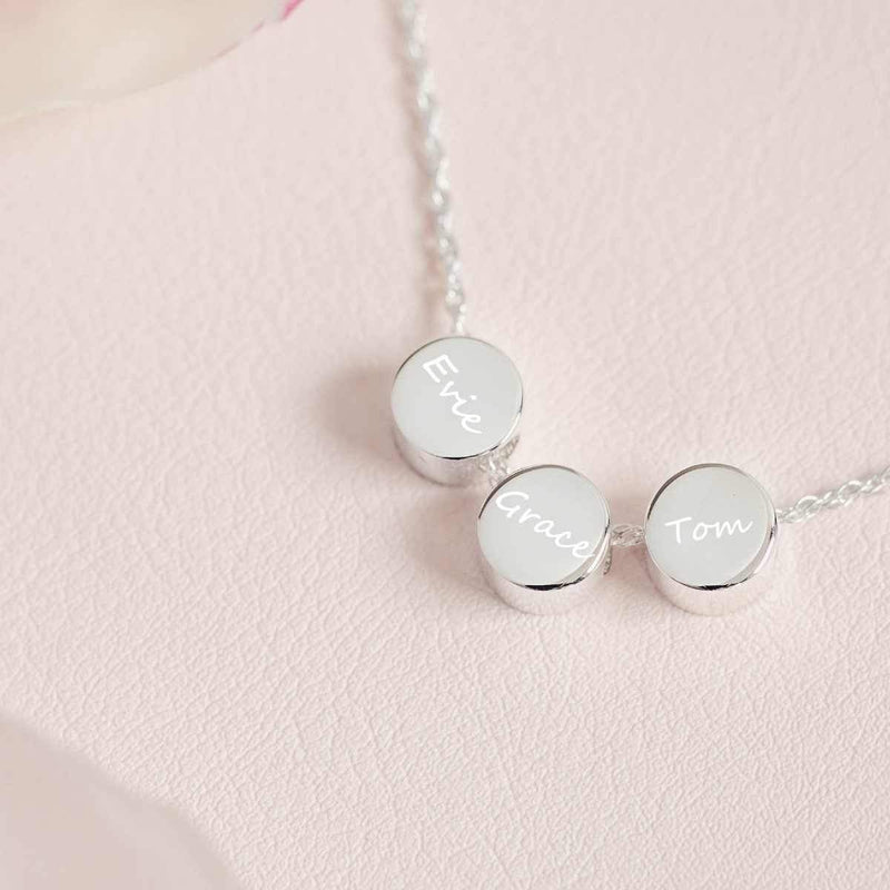 Family Necklace with Three Name Charms