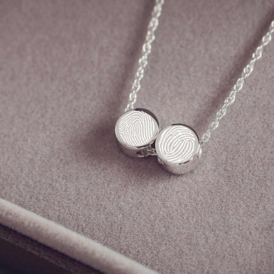 Family Necklace with Two Fingerprint Charms