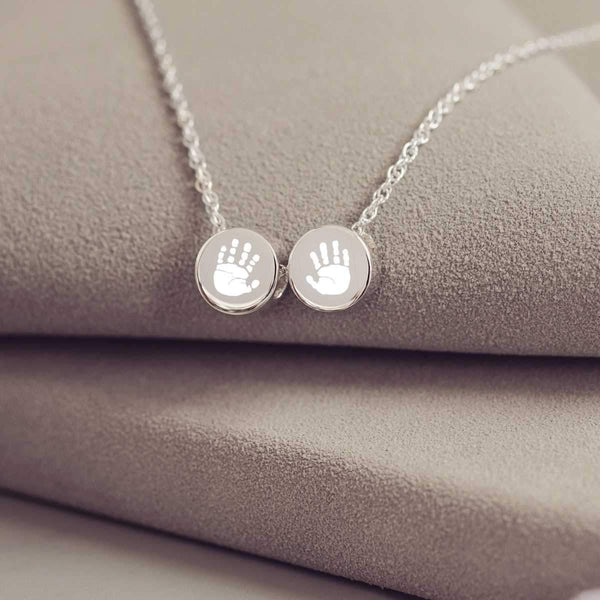 Family Necklace with Two Handprint Charms